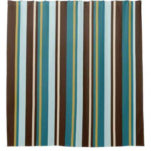 Teal, Brown, Beige and Gold Vertical Stripes Shower Curtain ...