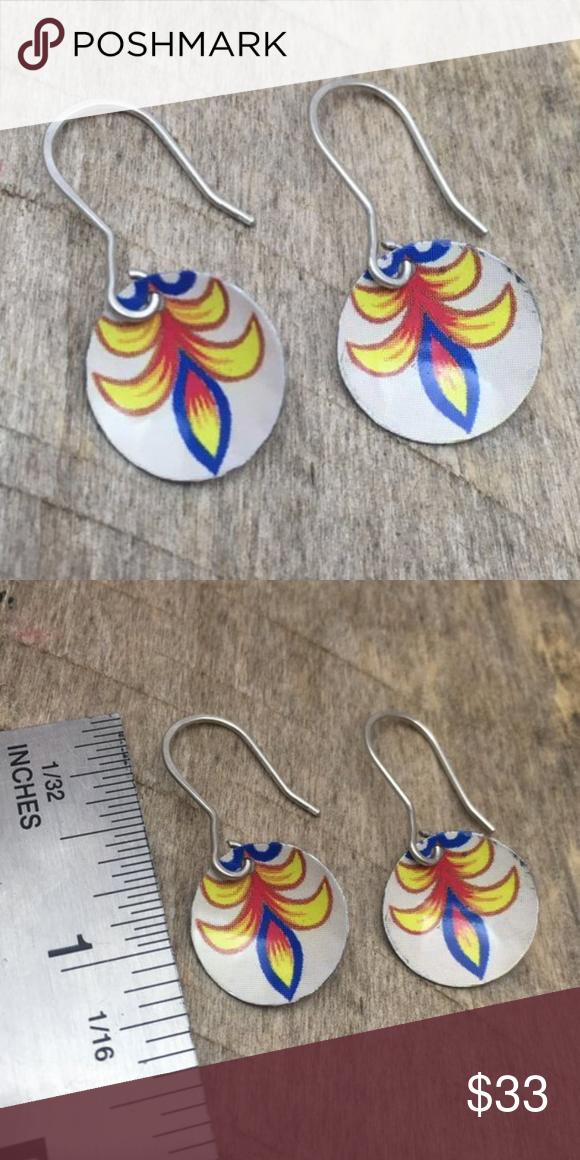 Handmade Tin Earrings One Of A Kind Dainty Earrings Featuring White