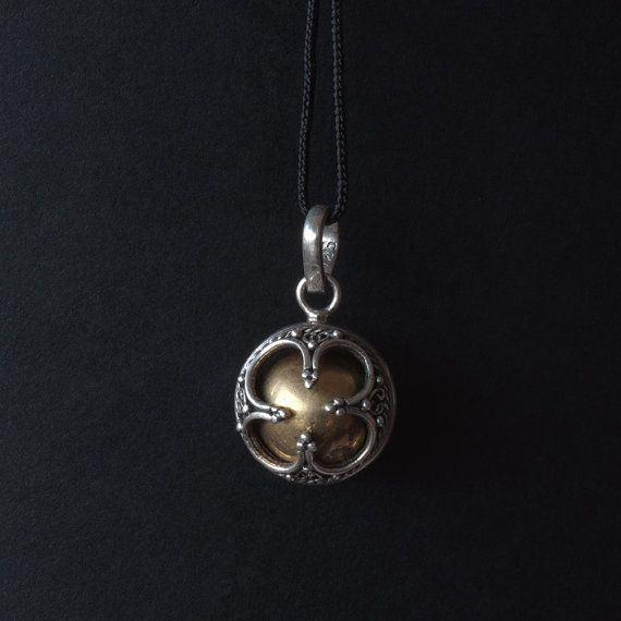 Sterling silver pendant with brass ball - Bali Dream Ball Pendant