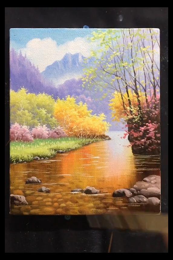 knife painting acrylic canvas landscape