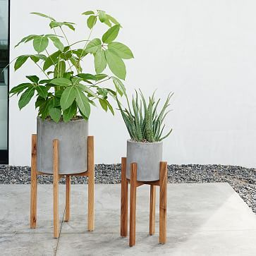 Modern Wood Leg Standing Planter Cylinder West Elm Inspired Decor Diy Plant Stand