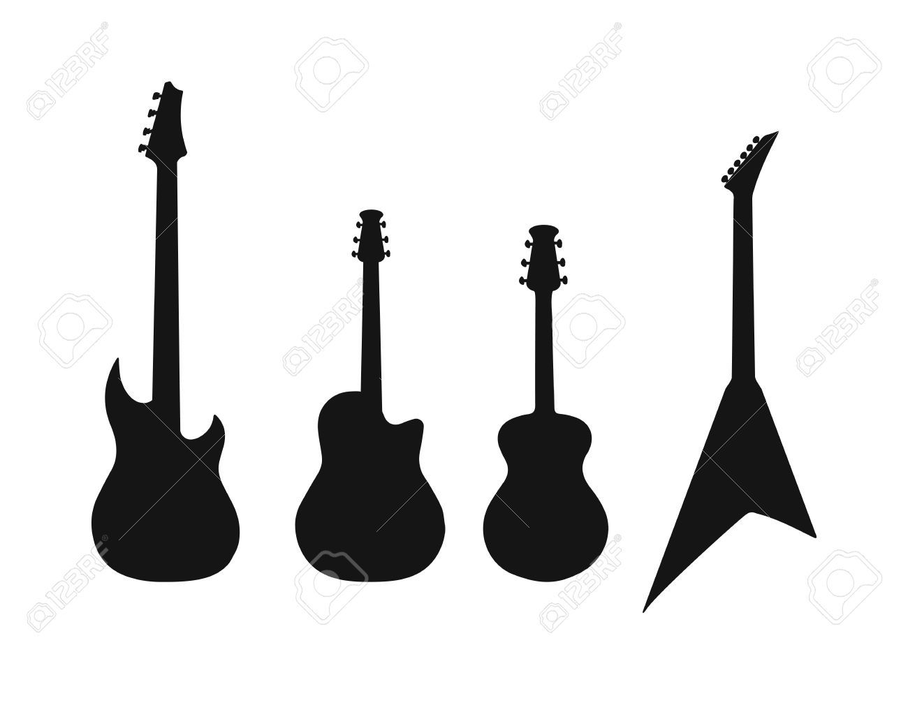 A Set Of Silhouettes Of Various Guitars Bass Electric Guitar Electric Guitar Guitar Silhouette Art