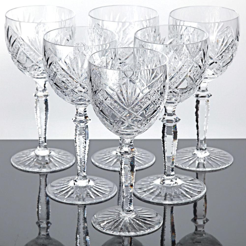 6 alte weingl ser kristall gl ser bodenstern schliff sterne strahlen vintage vintage glas. Black Bedroom Furniture Sets. Home Design Ideas