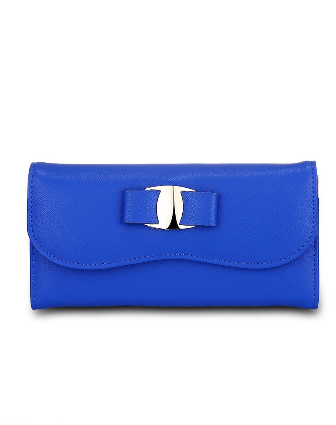 #AdoreWe #VIPme Wallets - MANLI Blue Elegant Bowknot Lady's Fold Over Wallet - AdoreWe.com