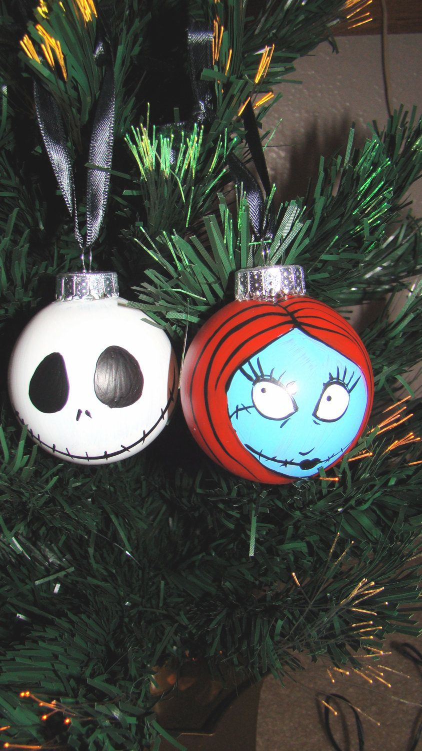 Nightmare Before Christmas Jack and Sally Ornaments | lite bulbs ...