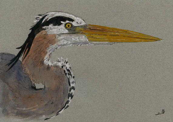 "Great blue heron bird nature head study wildlife color animal 8x5"" 21x15 cm art original Watercolor painting by Juan bosco"