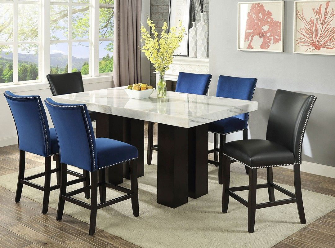 The Camilla Rectangle Pub Set Offers Elegant Dining With A Modern Twist The Beautiful White Marbl Counter Height Dining Sets Marble Table Dining Table Marble