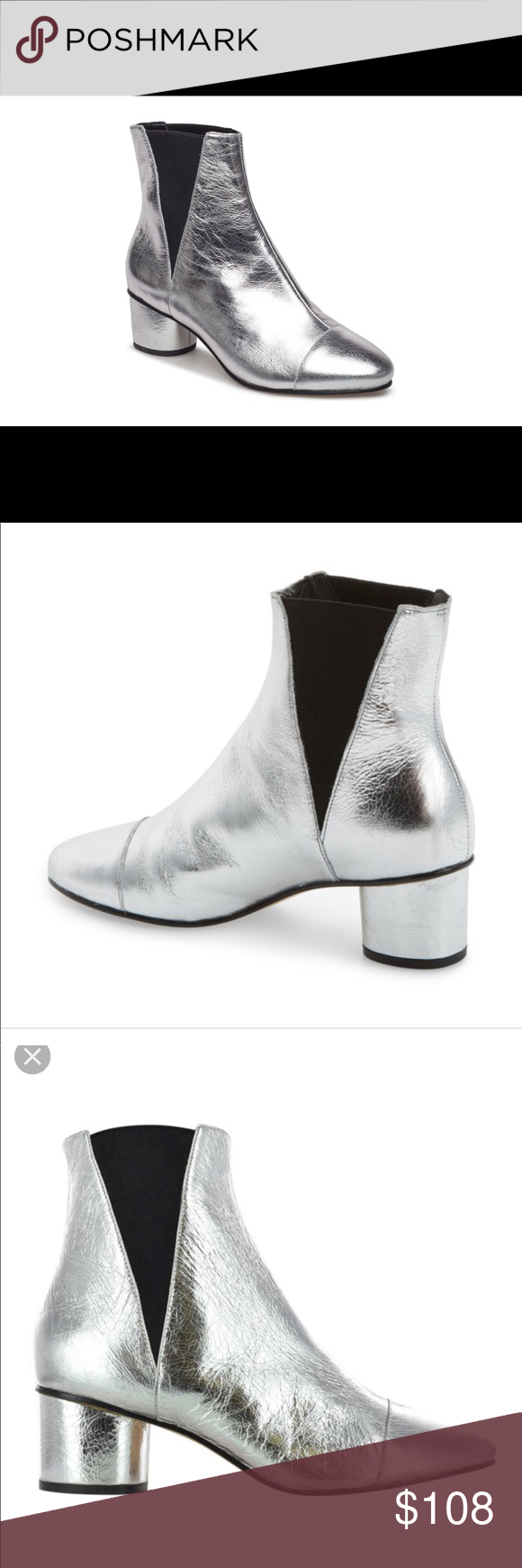 247bb92d719 Evecca minkoff izette bootie Silver Worn tiwce Like new No box ...