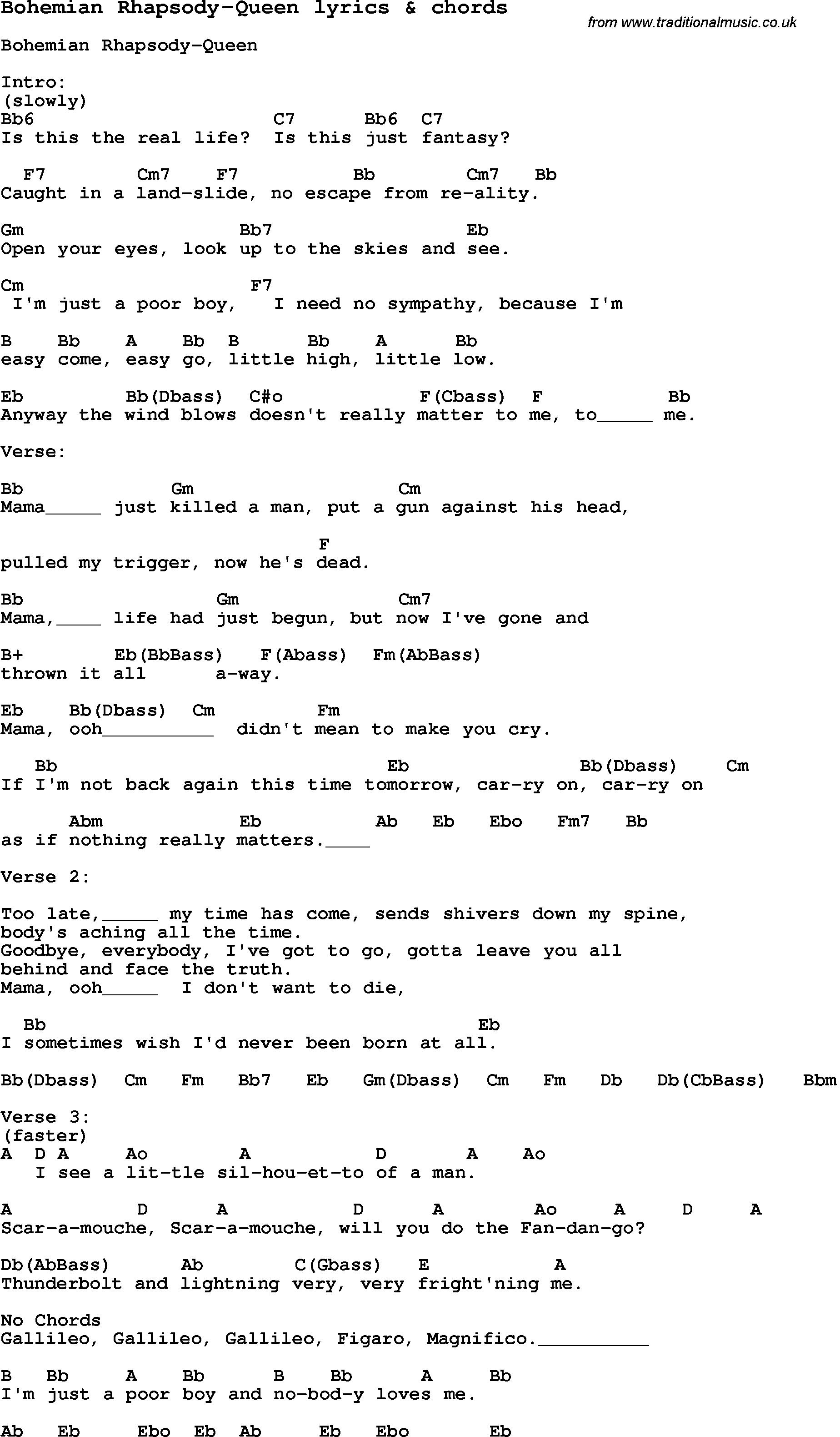 Song Lyrics To Bohemian Rhapsody