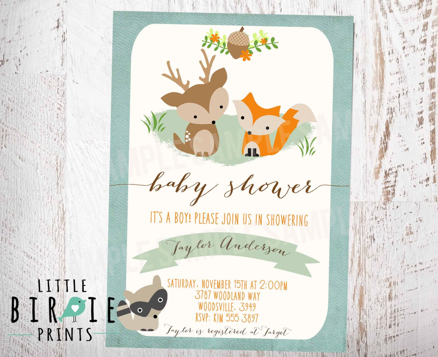 WOODLAND Baby Shower Invitation Fox Deer Raccoon BOY Rustic Style