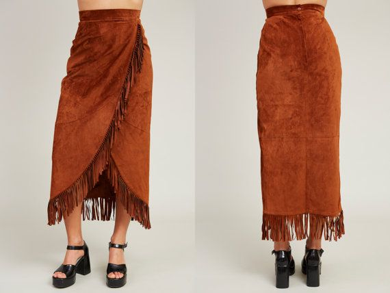 1990s Danier Brown Leather Western Fringe Skirt  XS by SoftServeVintage