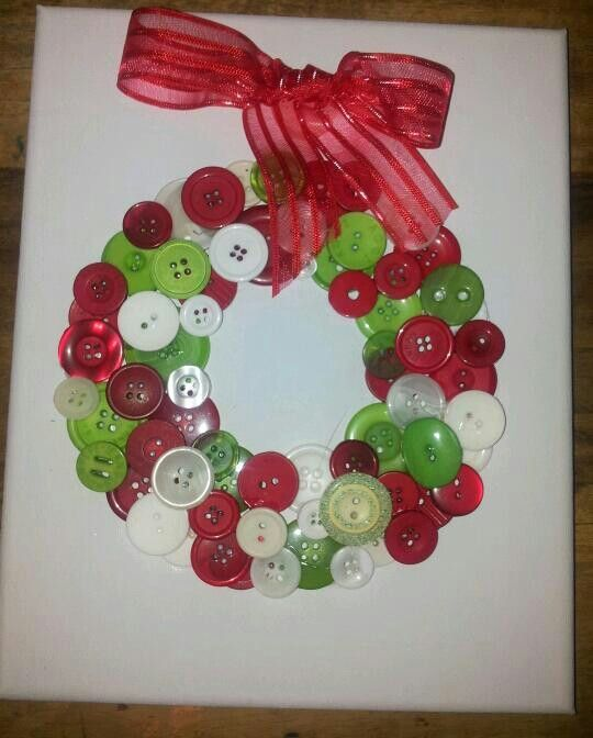 Arts And Crafts Christmas Ideas Part - 49: Christmas+Button+Art | Button Art Canvas Christmas Xmas Wreath