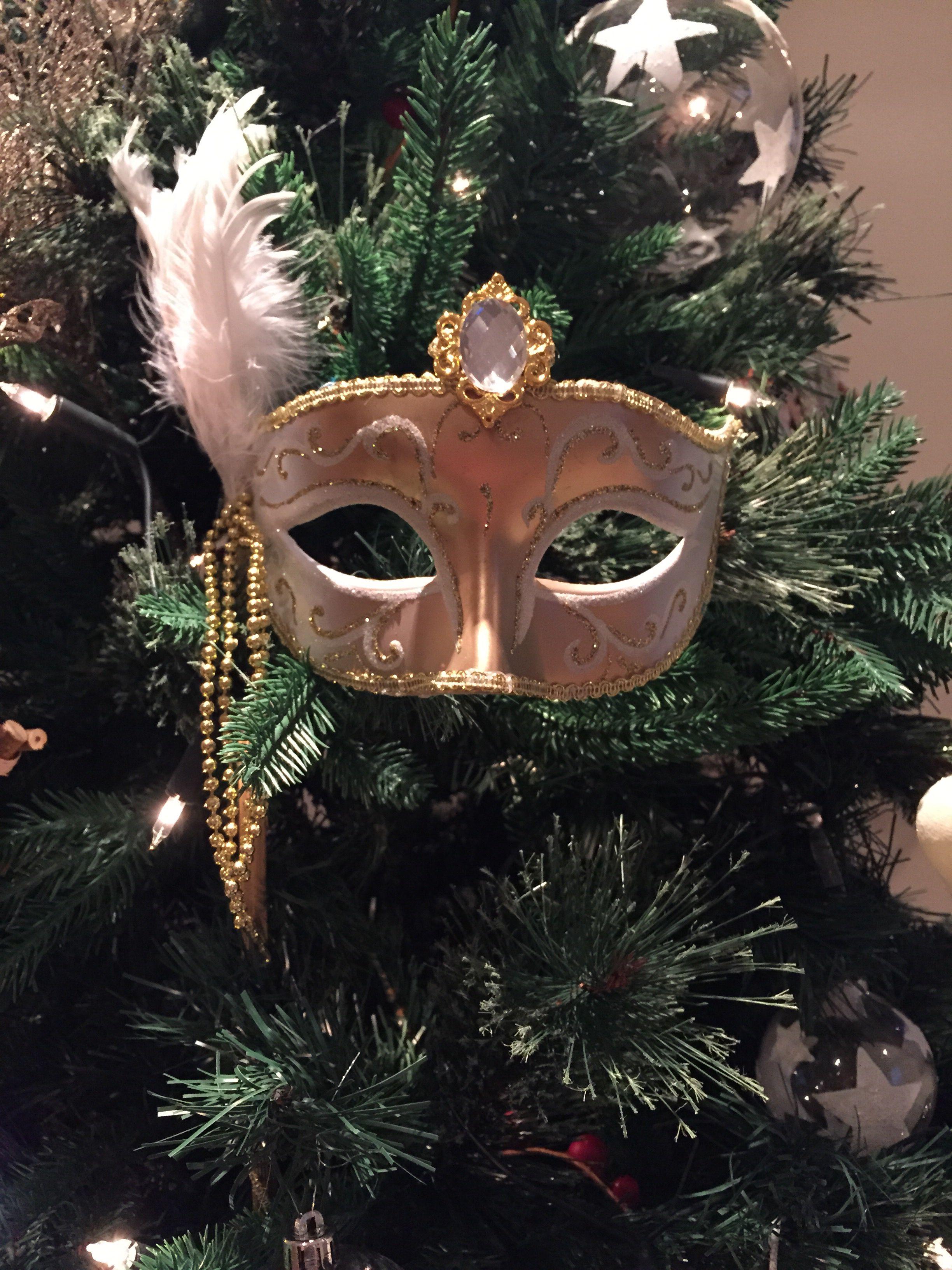 Christmas Masquerade Mask : christmas, masquerade, Christmas, Masquerade, Silver, Sparkle, White, Feather, Ornaments,, Christmas,, Decorations