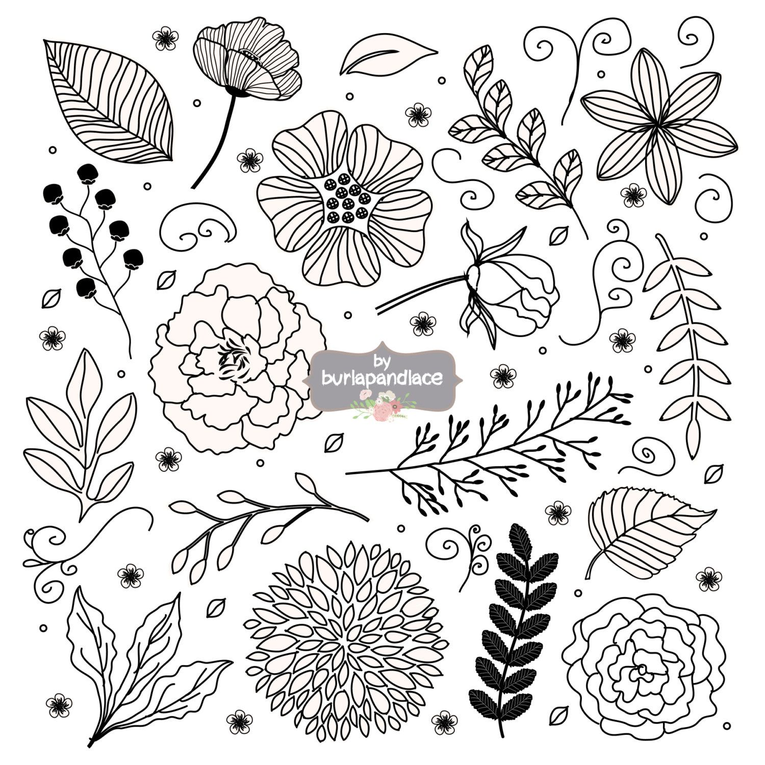 Rustic Wedding Clipart Flower Clipart Hand Drawn от