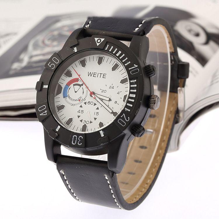 e022d764 Дешевое Мода досуг мужские часы спортивные часы кожа кварцевые часы, Купить  Качество Наручные часы непосредственно