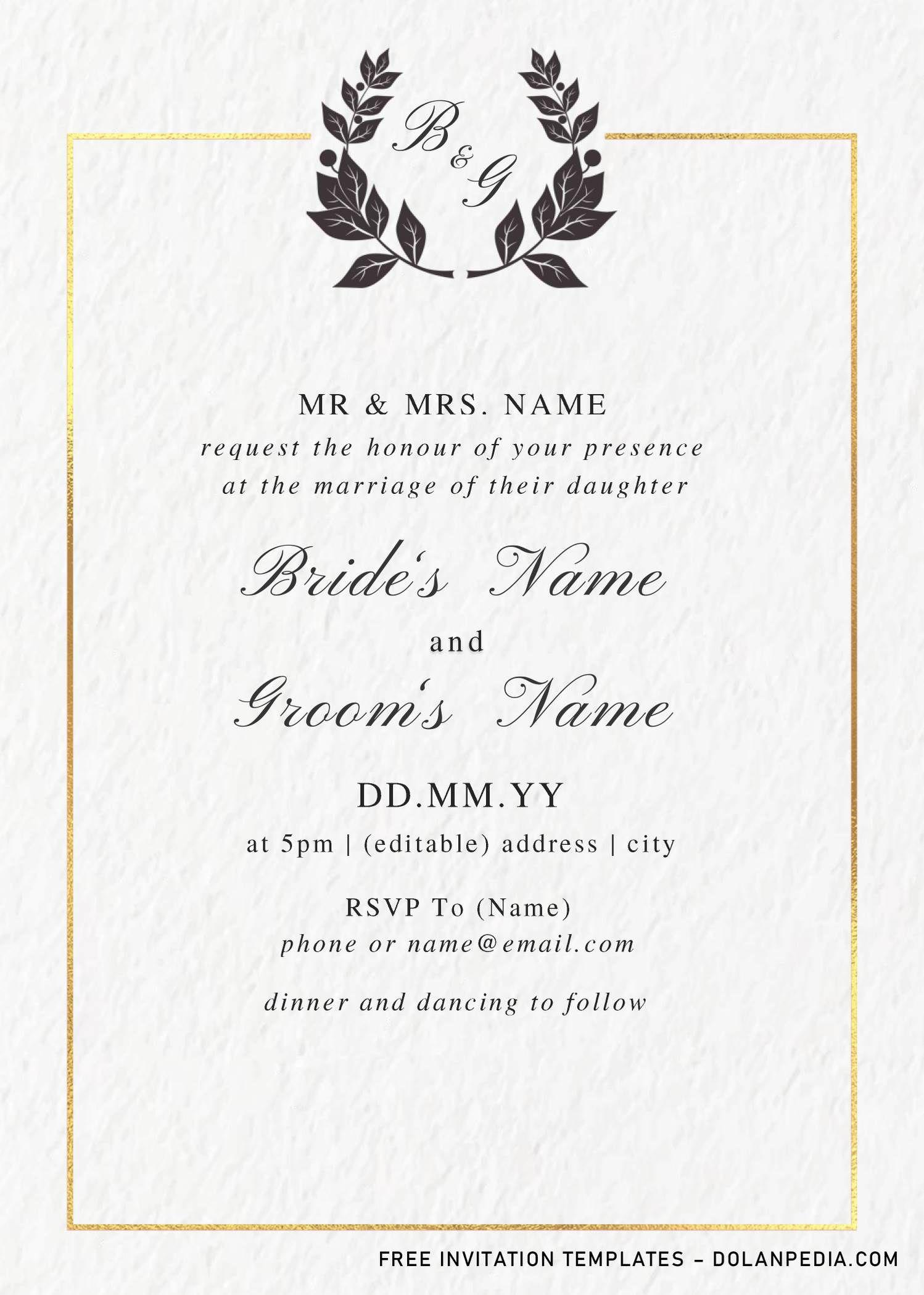 Monogram Wedding Invitation Templates Editable With Ms Word Monogram Wedding Invitations Wedding Invitation Templates Invitation Template - ms word wedding invitation templates