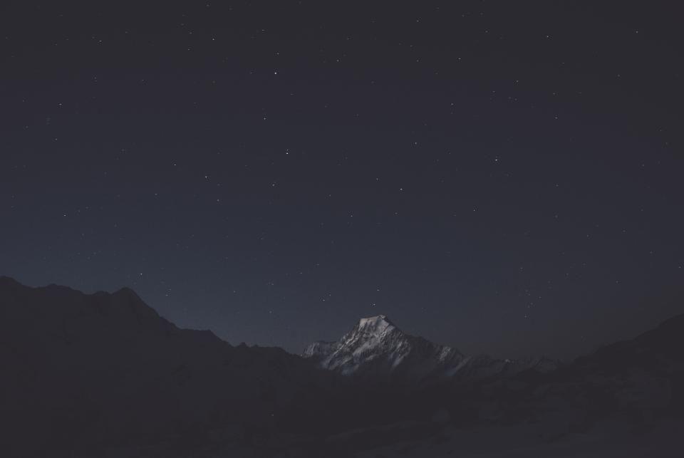Dark Night Sky Mountain Landscape Hill New Zealand Adventure New Zealand Adventure