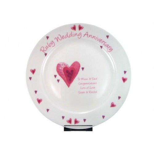 Personalised Ruby Wedding Anniversary Plate From Www