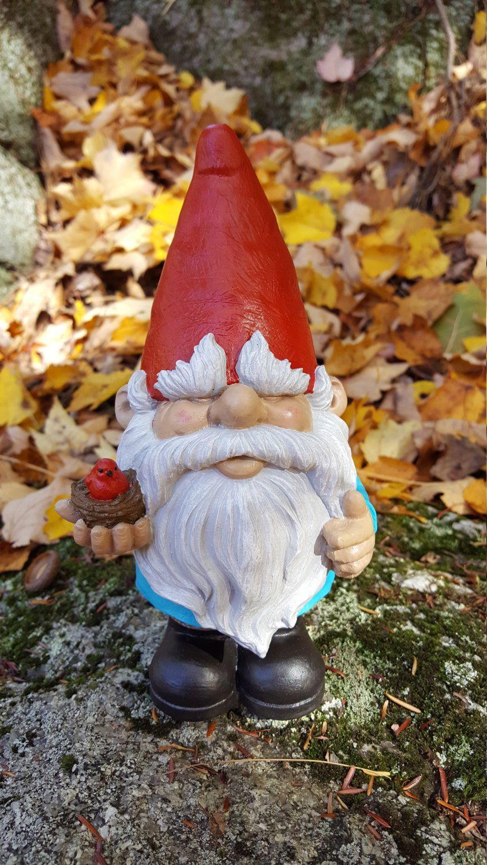 Gnome Statue, Garden Gnome With Bird, Funny Gnome Garden Decor, Fantasy  Yard Art