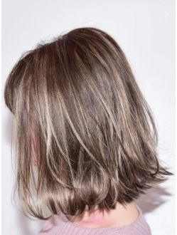 Keyman Laハイライトカラー グレージュボブ ビューティー 髪 色
