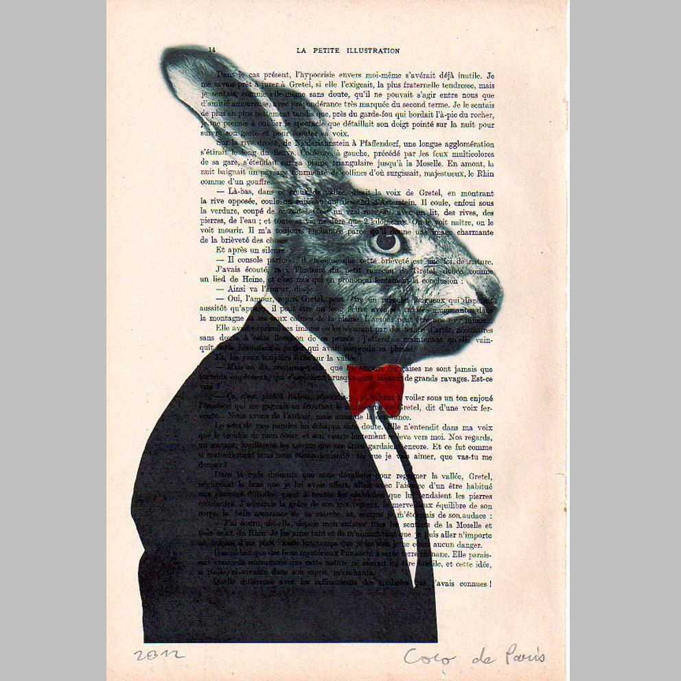 Mr Rabbit : Poster Print / Mixed Media / Gift For Him / Digital ...