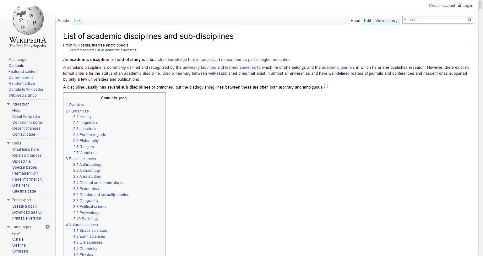 List of academic disciplines and sub-disciplines - Wikipedia