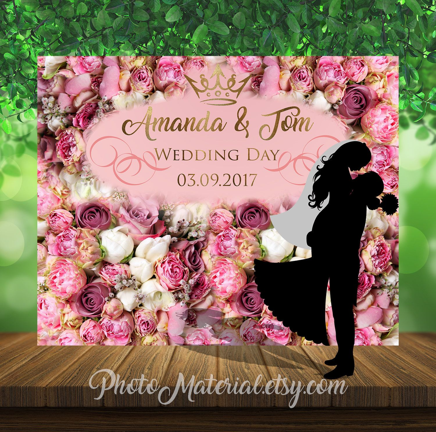 Personalized floral wedding backdrop printable file party personalized floral wedding backdrop printable file party decorations peonies flower party kristyandbryce Image collections