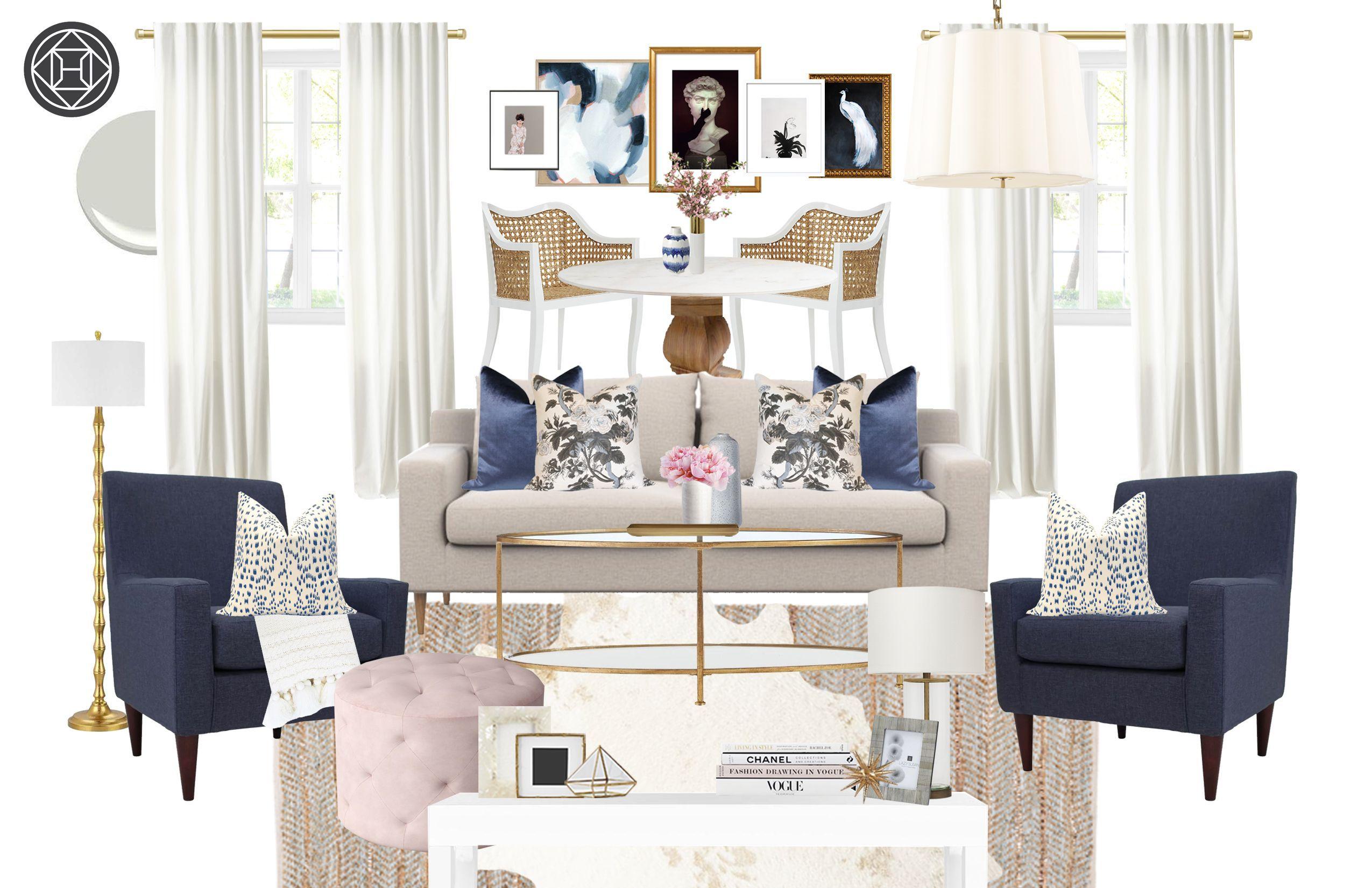 Design De Salon Classique Glamour Et Preppy Par La Designer D Interieur Havenly Hannah In 2020 Preppy Living Room Classic Living Room Classic Living Room Design