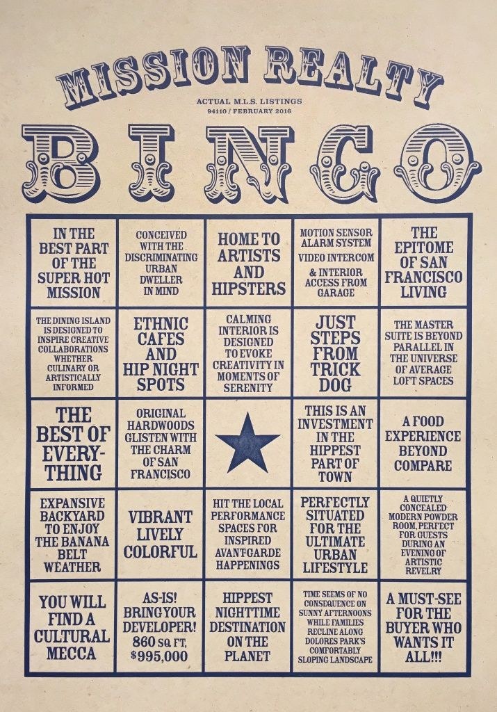 Bingo! Artist makes a game of Mission real estate lingo