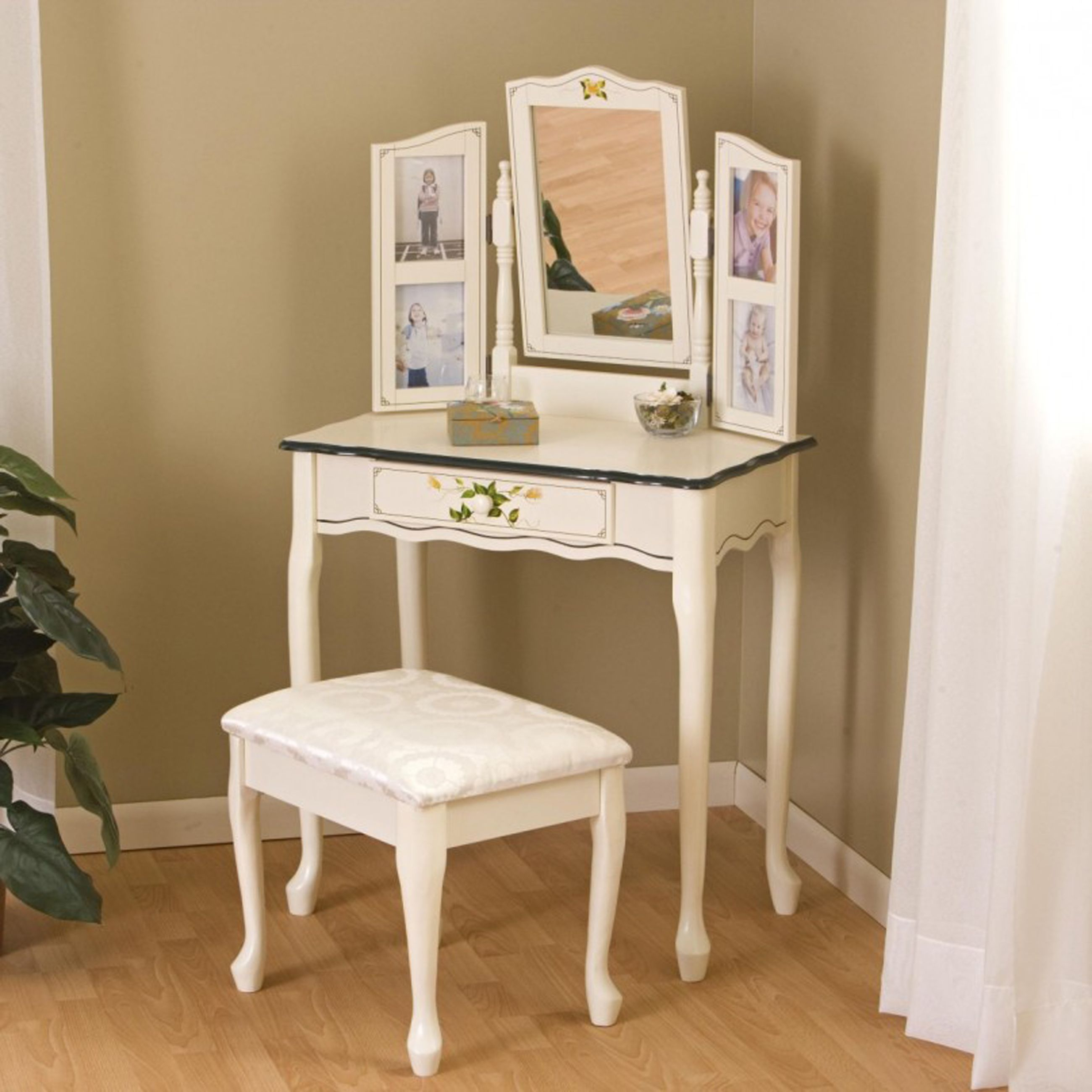 Decoration Classic White Girls Bedroom Vanities With Folding Mirror