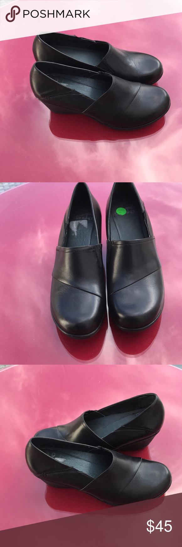 Dansko black wedge clogs in great condition Dansko black wedge clogs in great condition size 10 2/17/18 Dansko Shoes Mules & Clogs