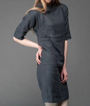 993b3d0d683d Linen women dress Pure linen dress Dark grey dress by LinenStory ...