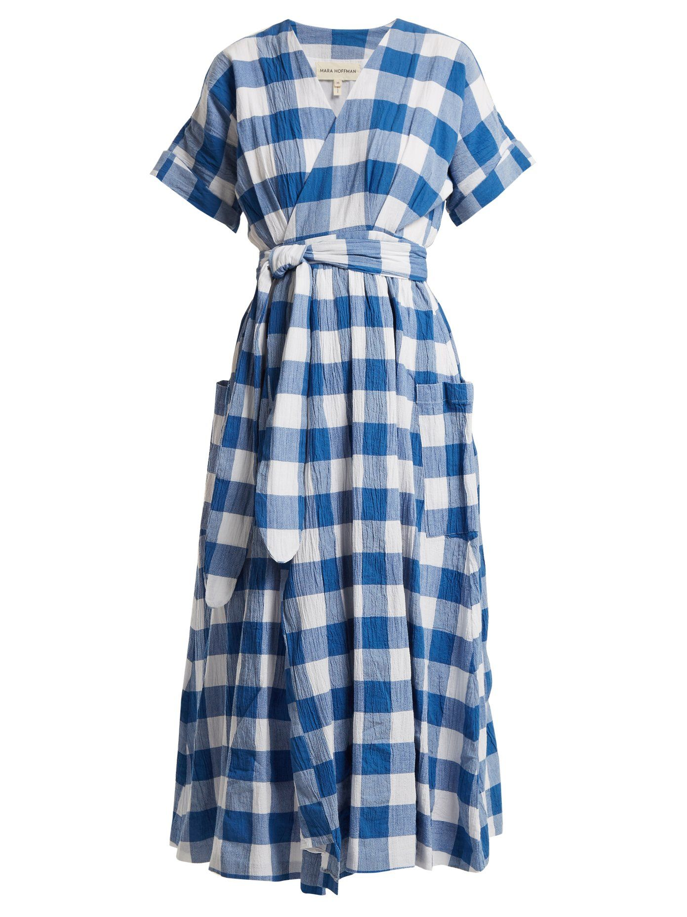 Footlocker Pictures For Sale Ingrid gingham crinkled-cotton wrap dress Mara Hoffman Cheap Price Discount Authentic nmKftktA