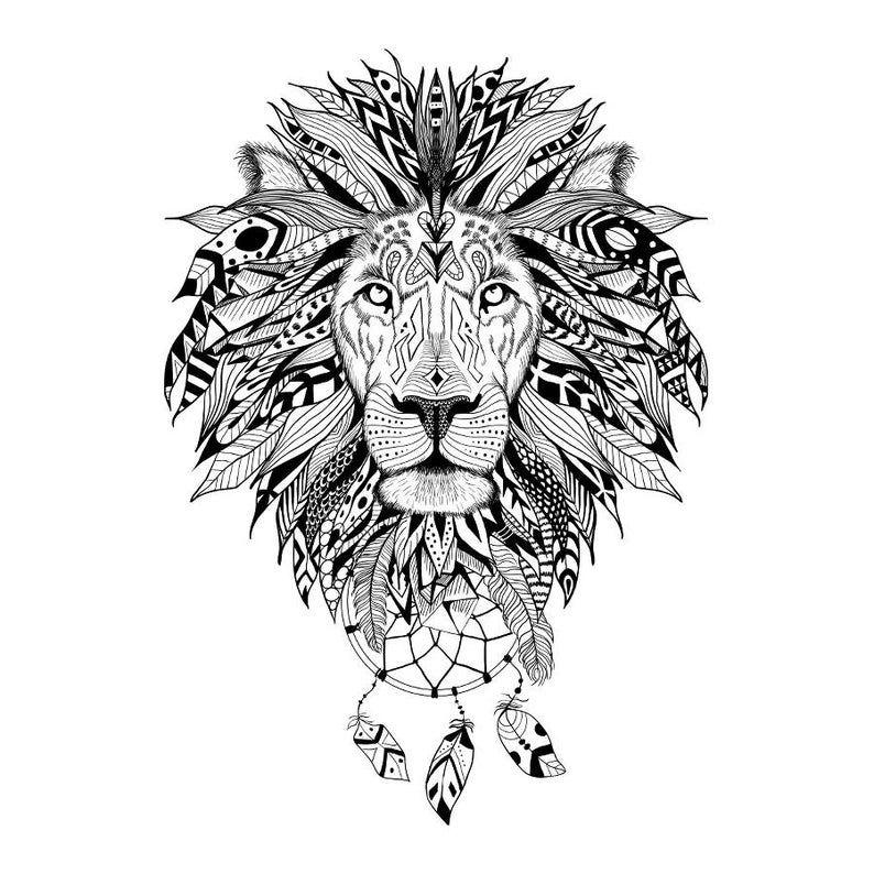 Lion Temporary Tattoo  Lion Tattoo  Animal Temporary Tattoo | Etsy