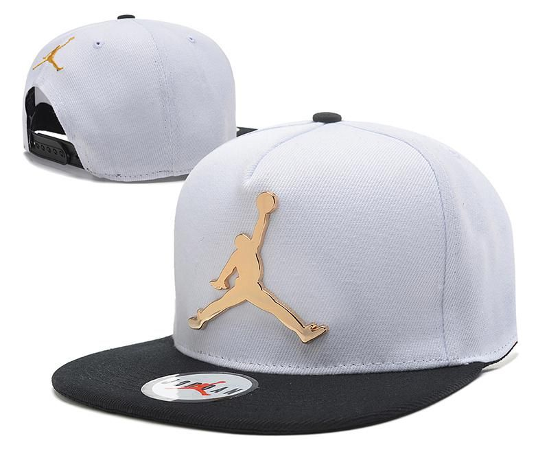 5856f9f3a65069 Mens Air Jordan The Jumpman Iron Gold Metal Logo A-Frame 2016 Big Friday  Deals Snapback Cap - White   Black