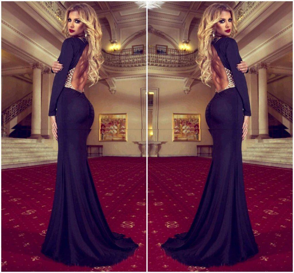 Gorgeous black backless long sleeve mermaid dress dresses