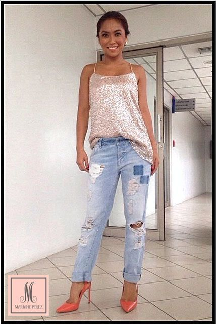 Rochelle Pangilinan in a blush pink Mariane Perez sequin camisole.   #marianeperez #blush #pink #sequin #shine #camisole #normcore #bts #fashion #designer #streetstyle #ootd #ootn