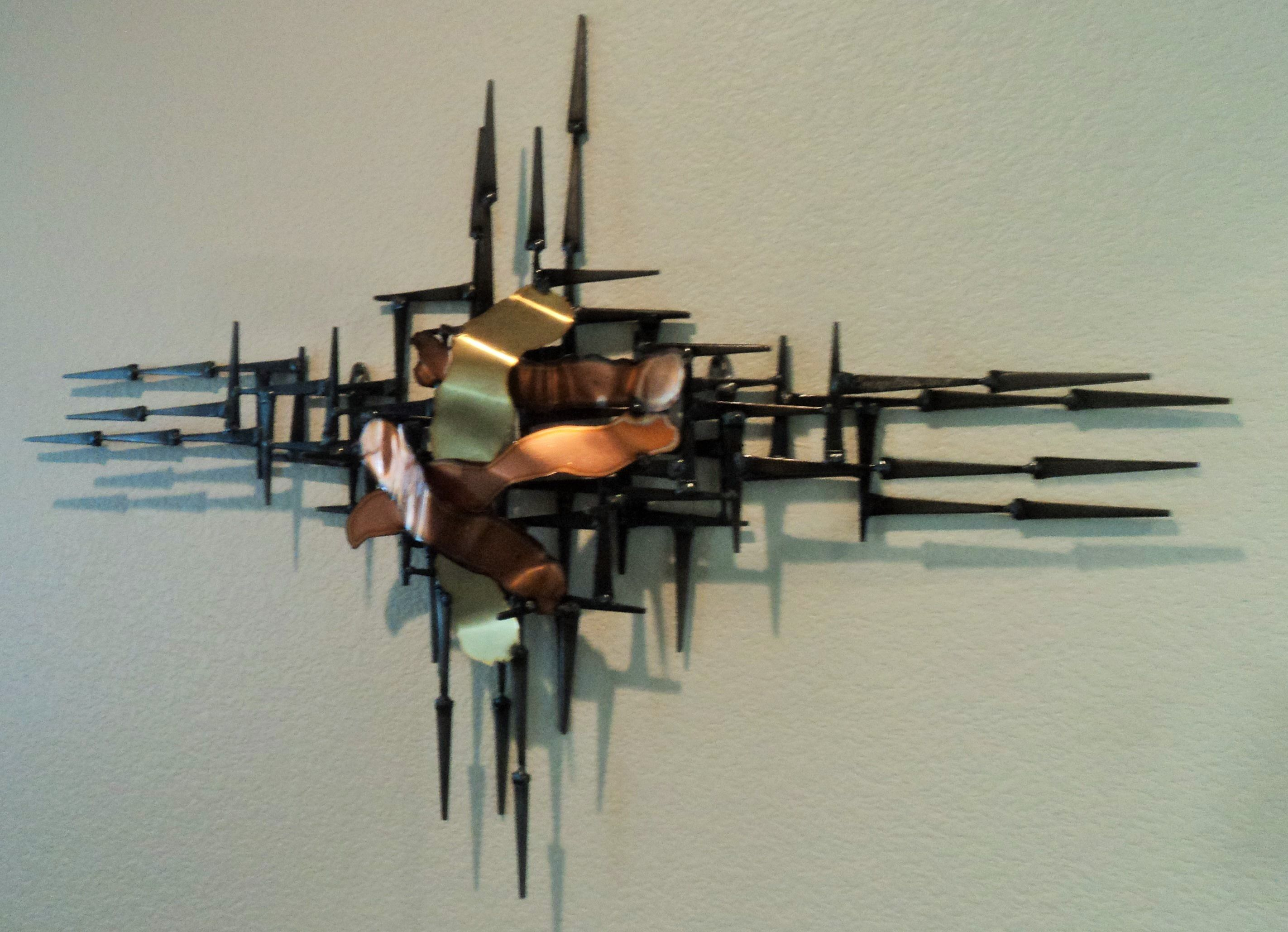 modern MCM square nail wall sculpture created by artist ...