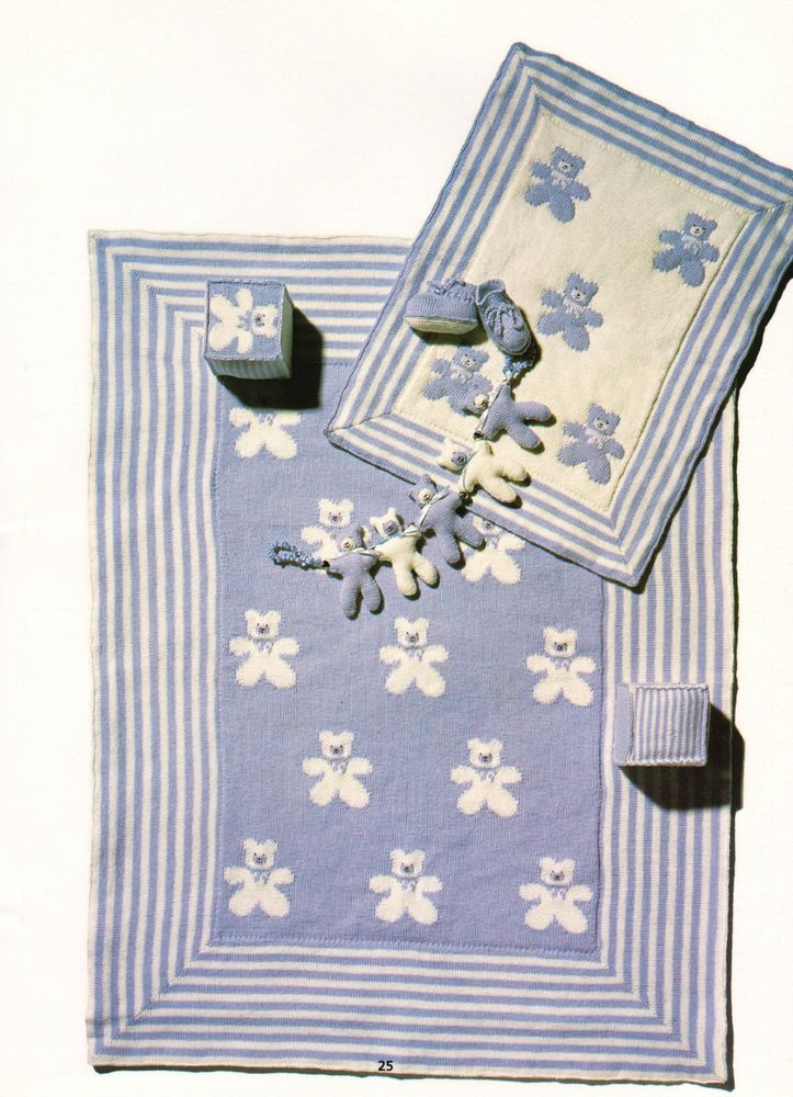 Cute Teddy Bear Baby Blanket /& Pram//Cot Cover 4 ply Knitting Pattern