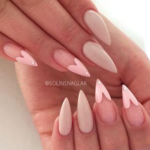Solinsnaglar User Profile Instagrin Heart Tip Nails Pink