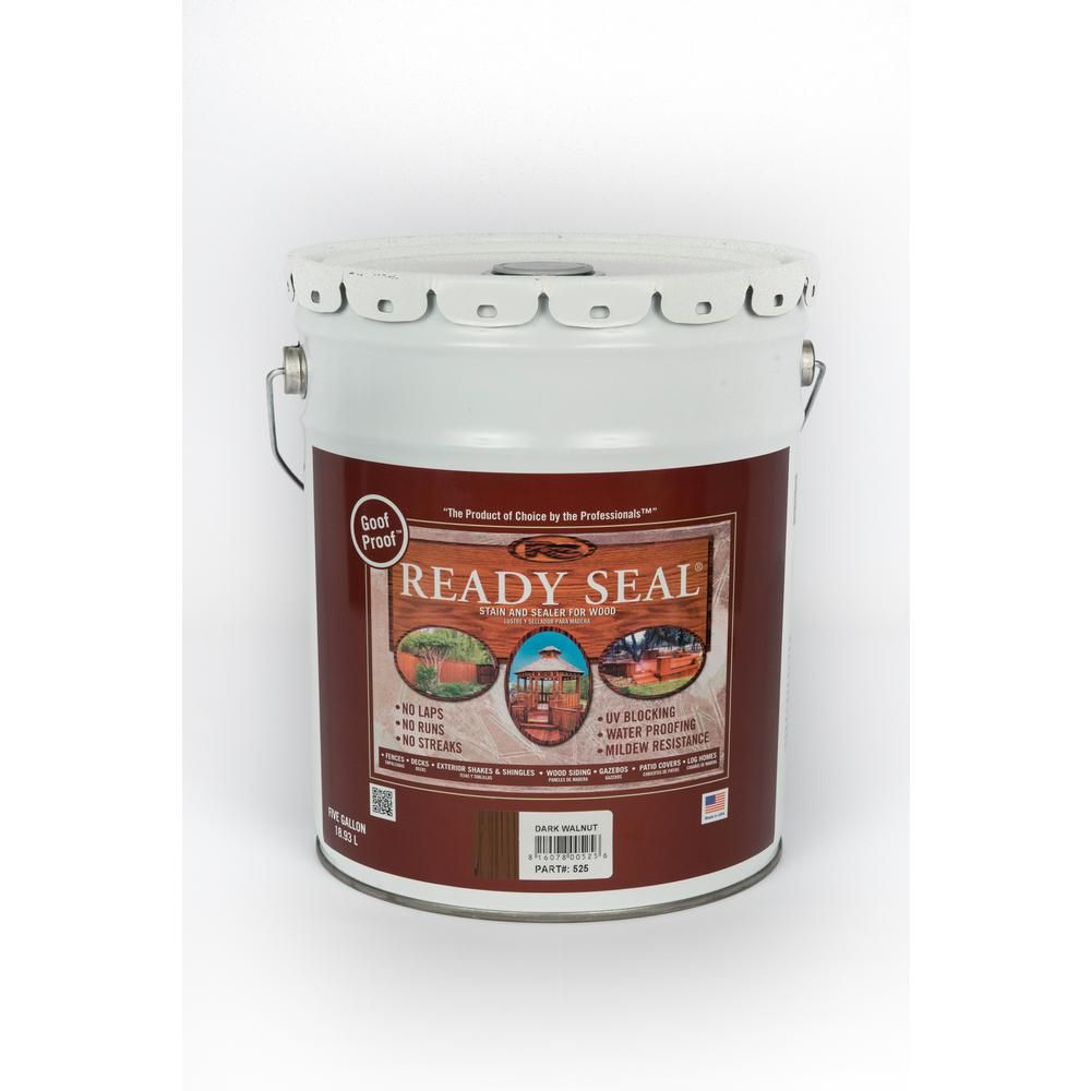 Ready Seal 5 Gal Dark Walnut Exterior Wood Stain And Sealer 525 Exterior Wood Stain Wood Deck Stain Exterior Stain