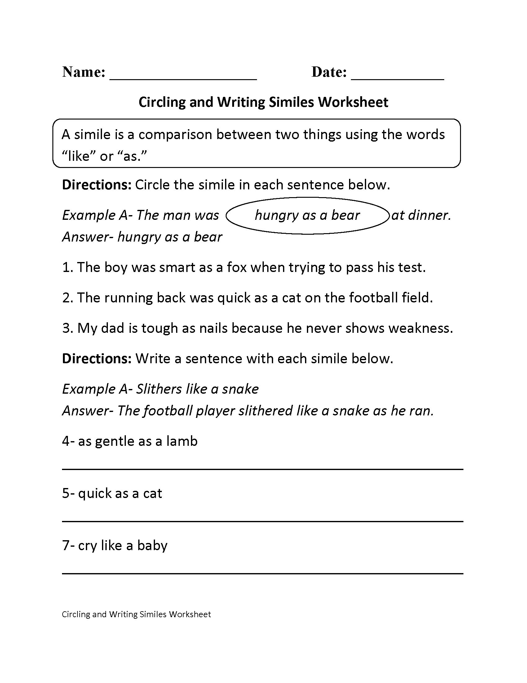 Circling And Writing Similes Worksheet