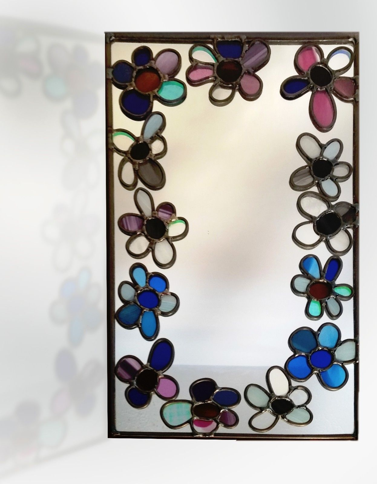 Flowers Around Design Lead Overlay Stained Glass Mirror 23 Cm X