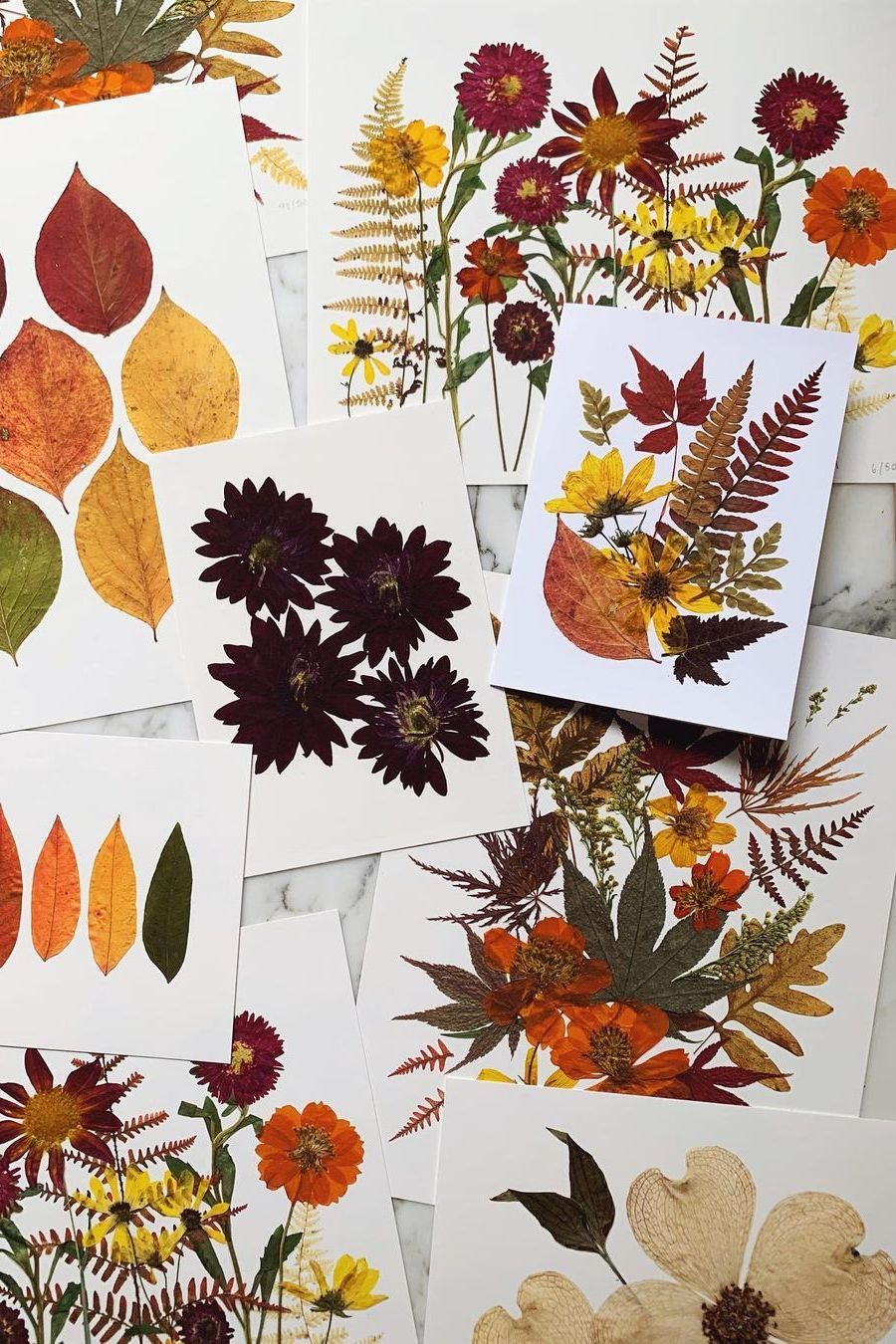 This original artwork features a collection of autumn flowers and plants arranged into a growing