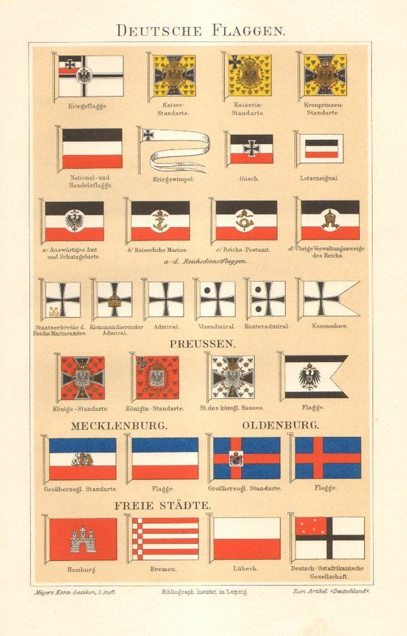 1894 Flags Of The German Empire National Flag War Flags Original