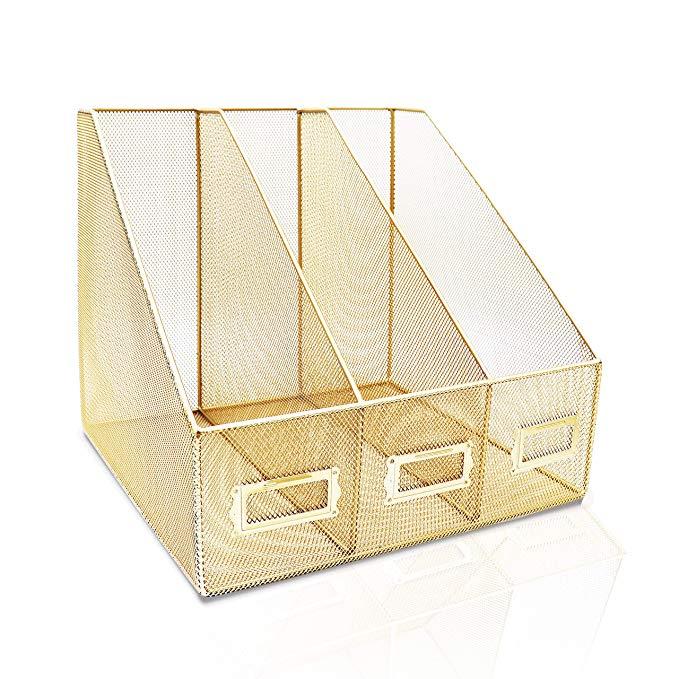Amazon Com Delancey Usa Gold Desk Organizer Gold File Organizer Folder Organizer Office Or Office Organization Desk Accessories Office Mail Organizer Wall