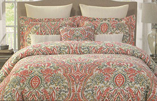 Tahari Home Asha Damask Boho Style Red Orange Green Yellow White