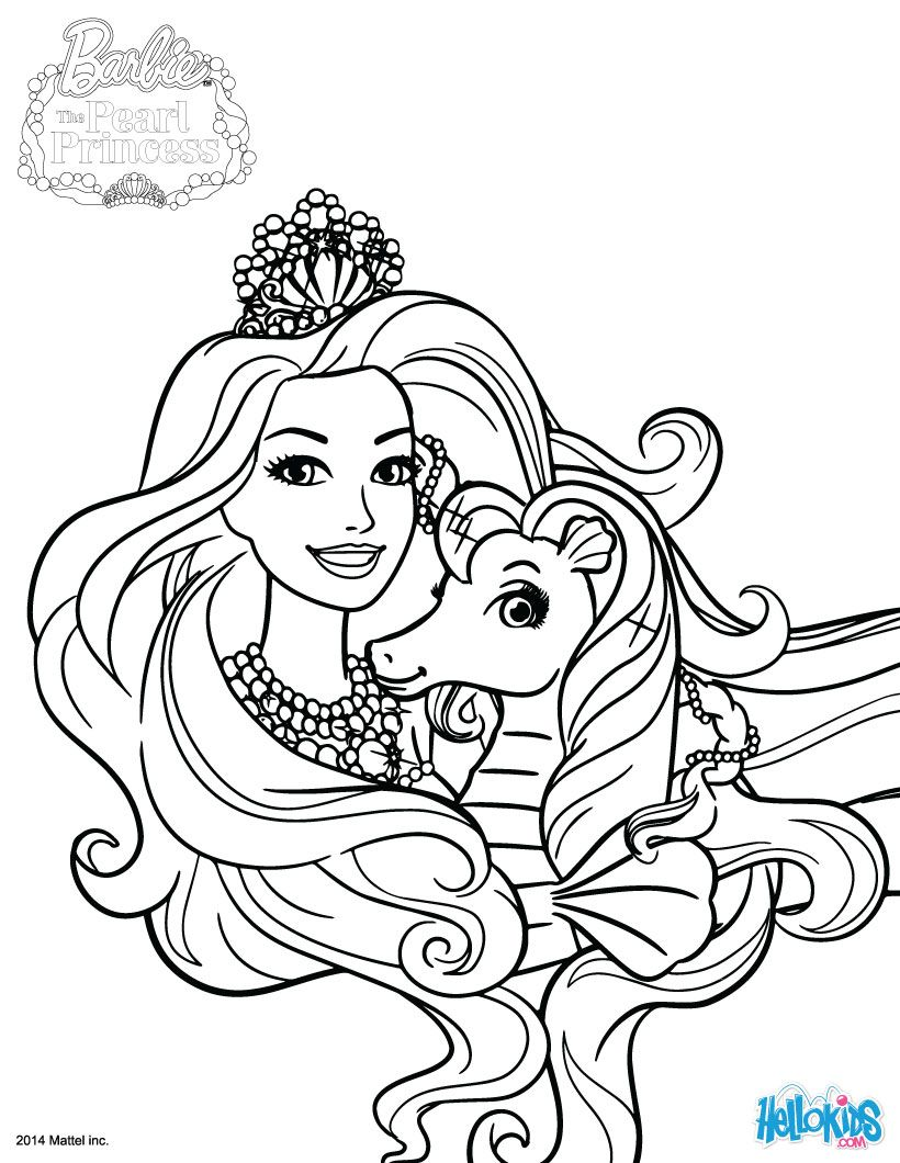 barbie the pearl princess coloring pages 1 - Barbie Princess Coloring Pages