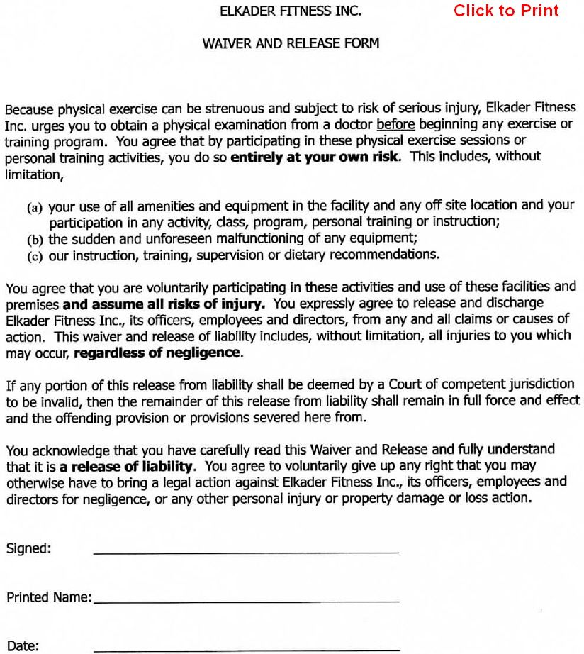 Printable Sample Release And Waiver Of Liability Agreement Form – Waiver Template for Liability
