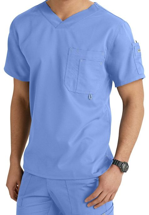 26cd863a388 This Grey's Anatomy men's scrub top is made from the arcLux super soft and  easy care fabric! It features a high, open V-neck with a slim silhouette  and ...